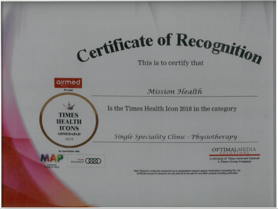 TIMES Health ICON, 2018 to Mission Health in Super Speciality Physiotherapy Category.