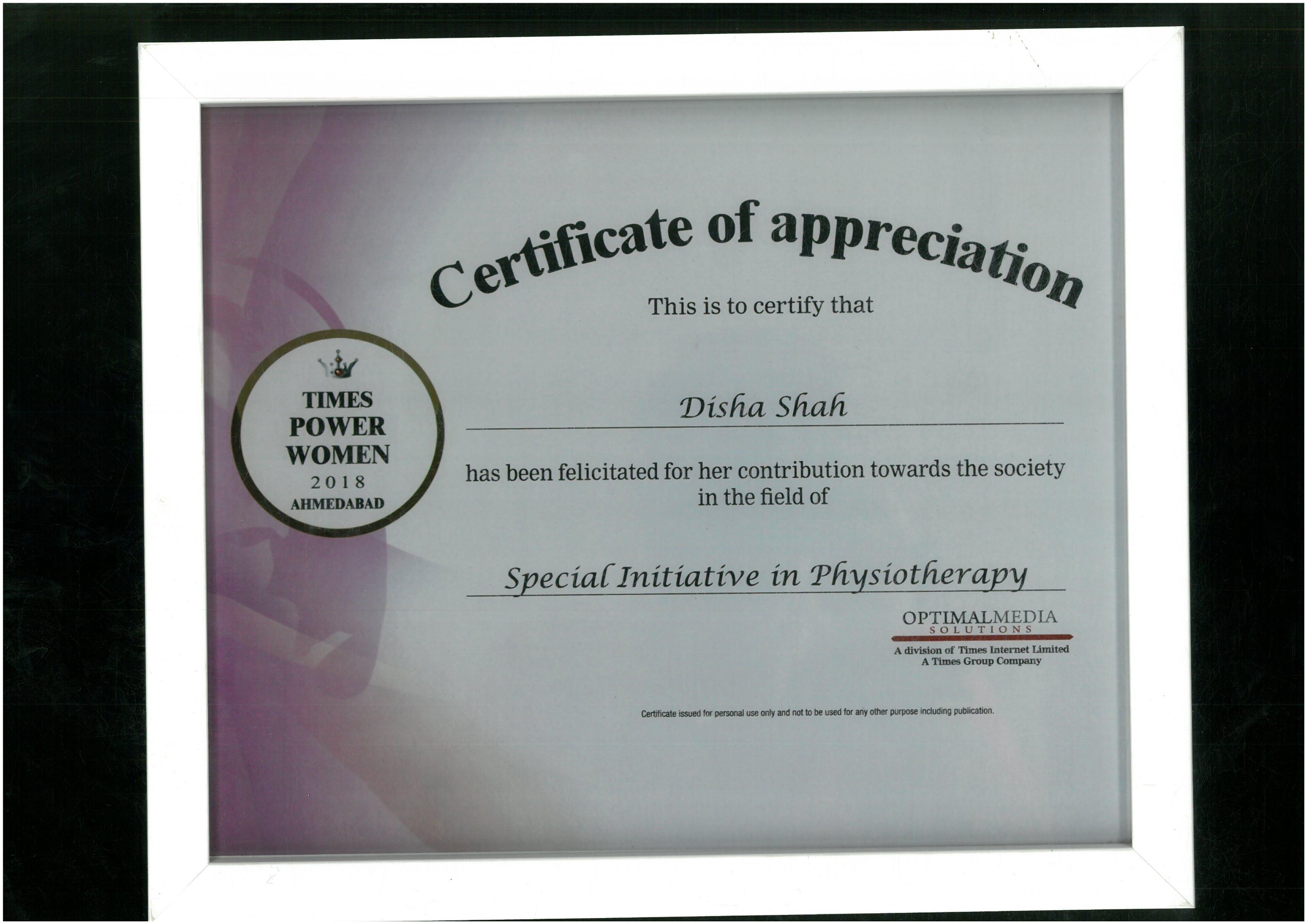 TIMES Power Woman, 2018 to Dr Disha Shah for her Special Initiative in Physiotherapy.