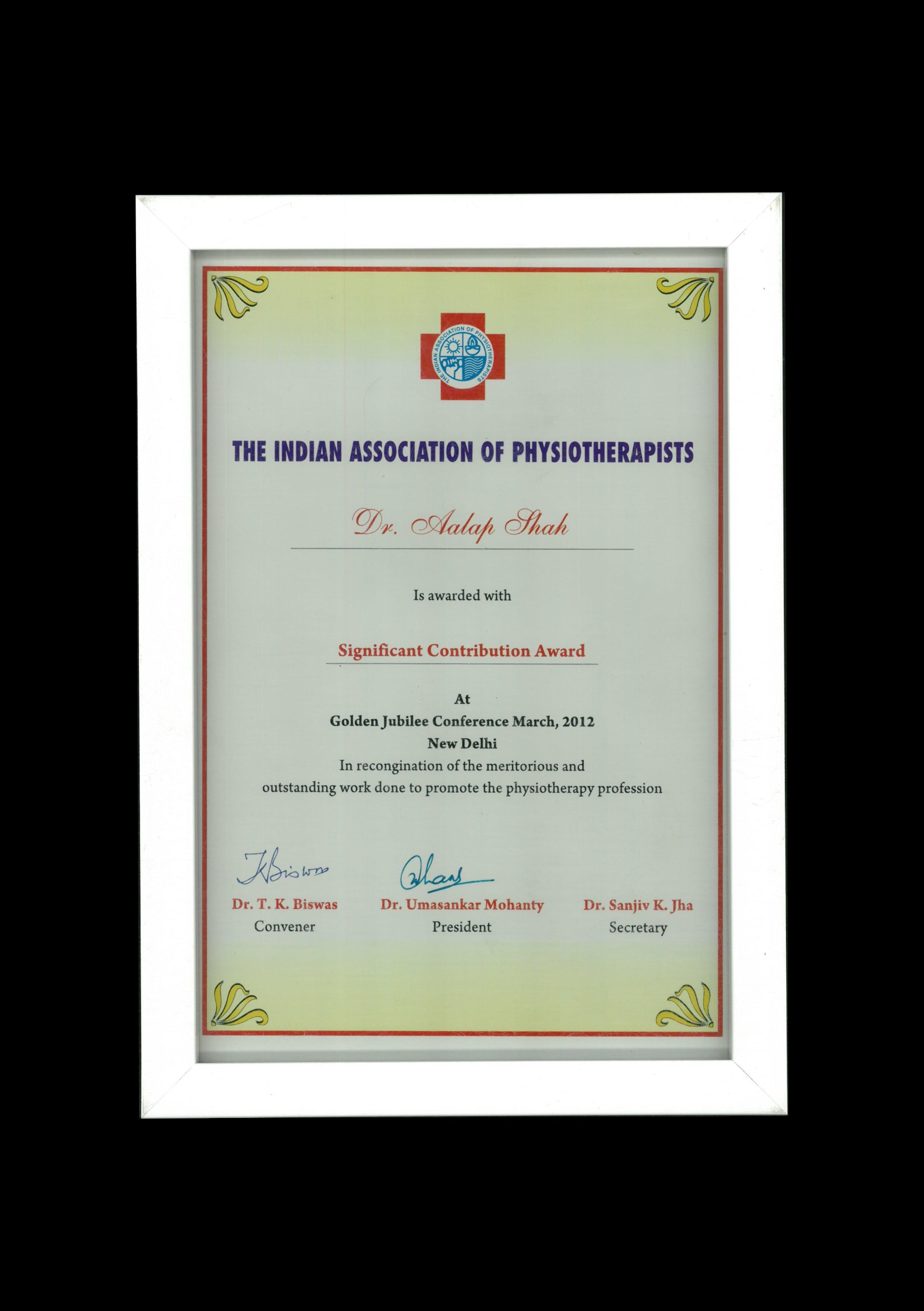 The Indian Association of Physiotherapists, 2012 t0 Dr Aalap Shah for Significant Contribution in the field of Physiotherapy.